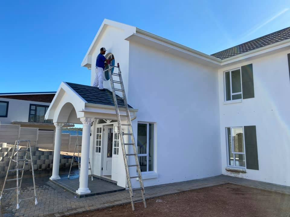 Exterior painting done by Kalahari Paint Services - a division of Schoeman Trio Builders - Mossel Bay
