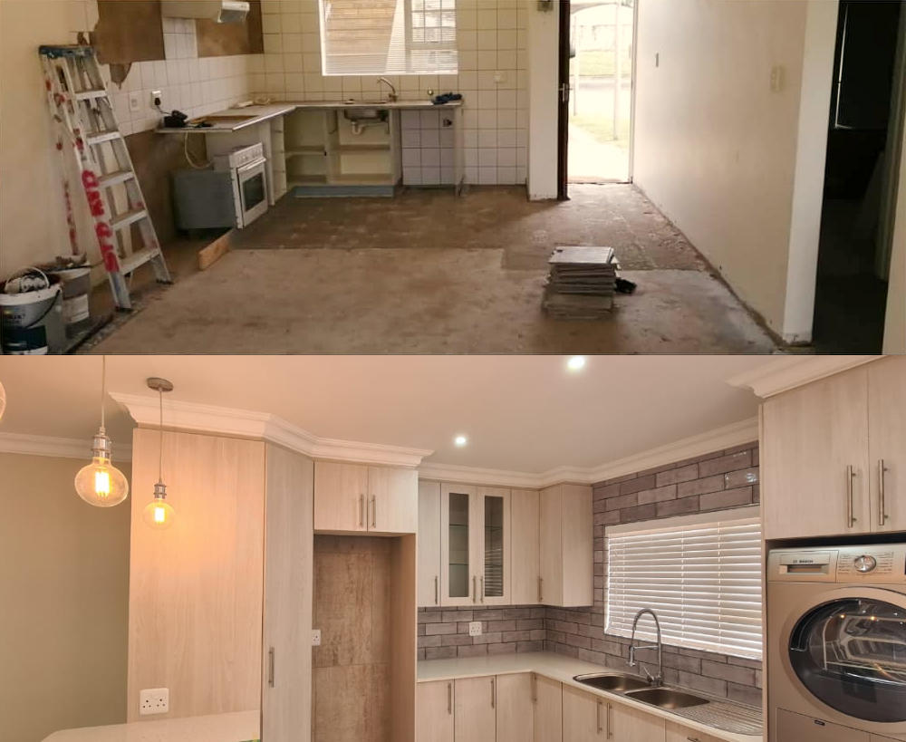 Before and after picture - Interior apartment refurbishment in Hartenbos, Schoeman Trio Builders, Mossel Bay